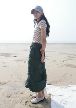 shirring detail crispy skirt (3colors)