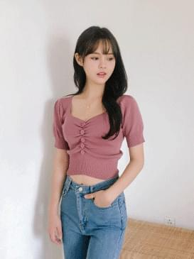 Shirring Crop Baby Short Sleeve Cut