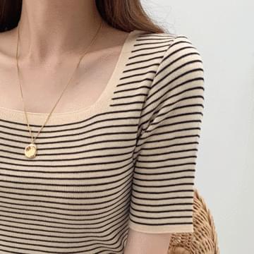 Square Neck Stripe Knit