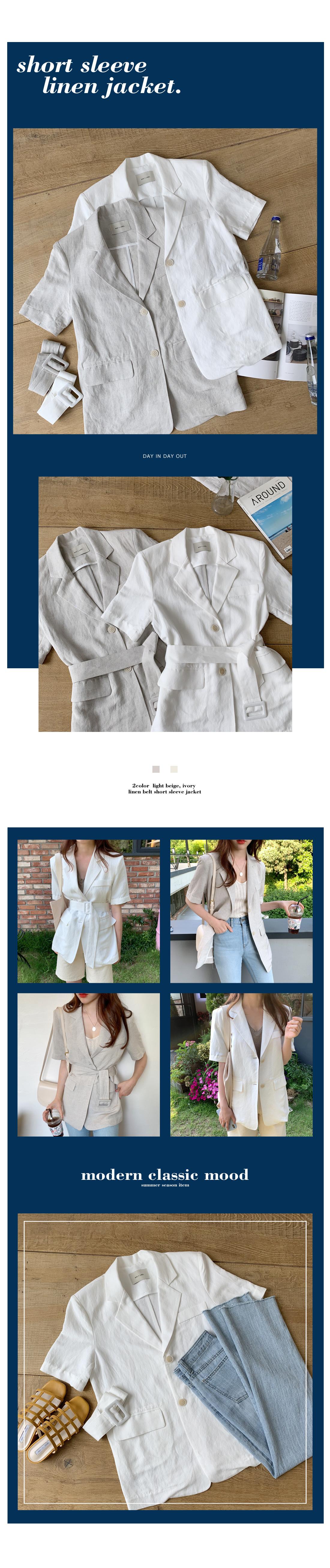 Mono Belt Linen Short Sleeve Jacket