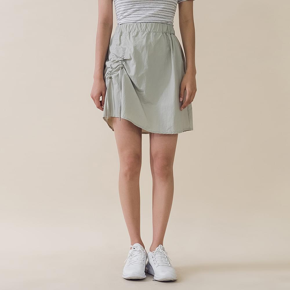 Shirring Bending Mini Skirt