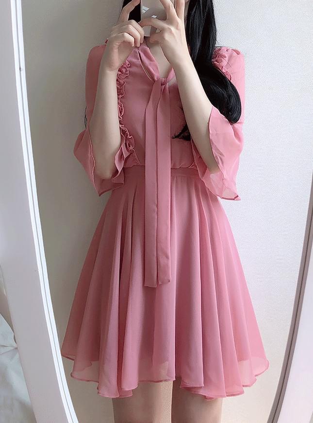 Mulan Frill Ribbon Dress