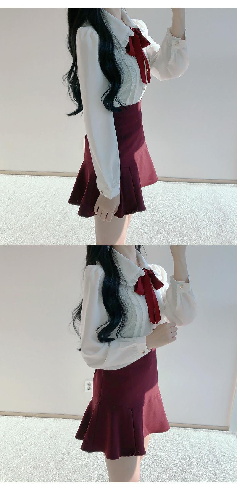 Order rush ♥ Thumbelina wine ribbon blouse