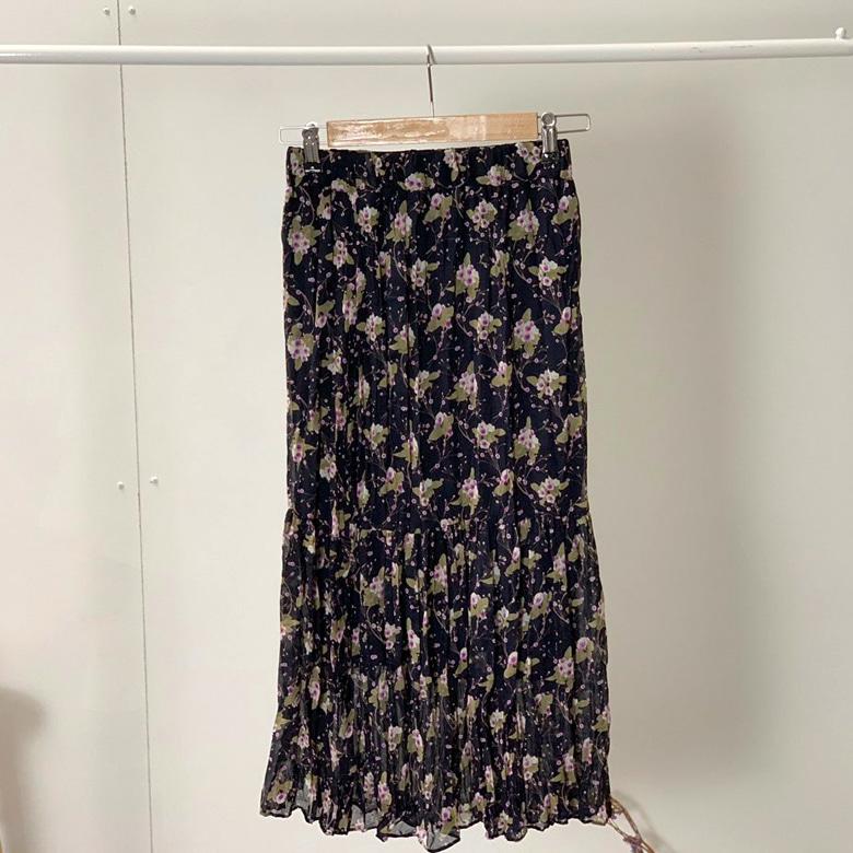 츤츤 Flower Shearing Long Skirt