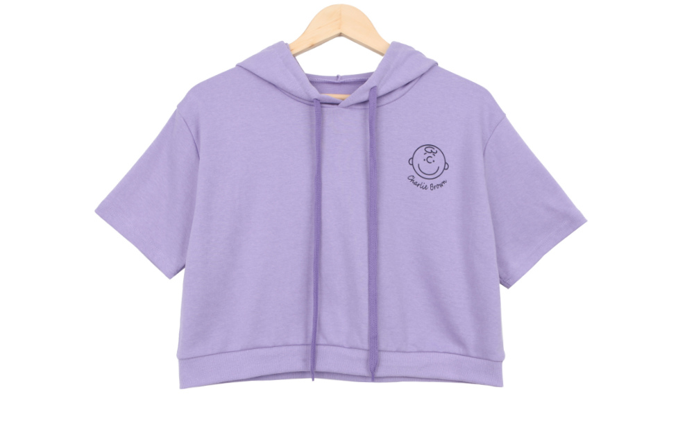 Pace cropped sleeved hooded tee