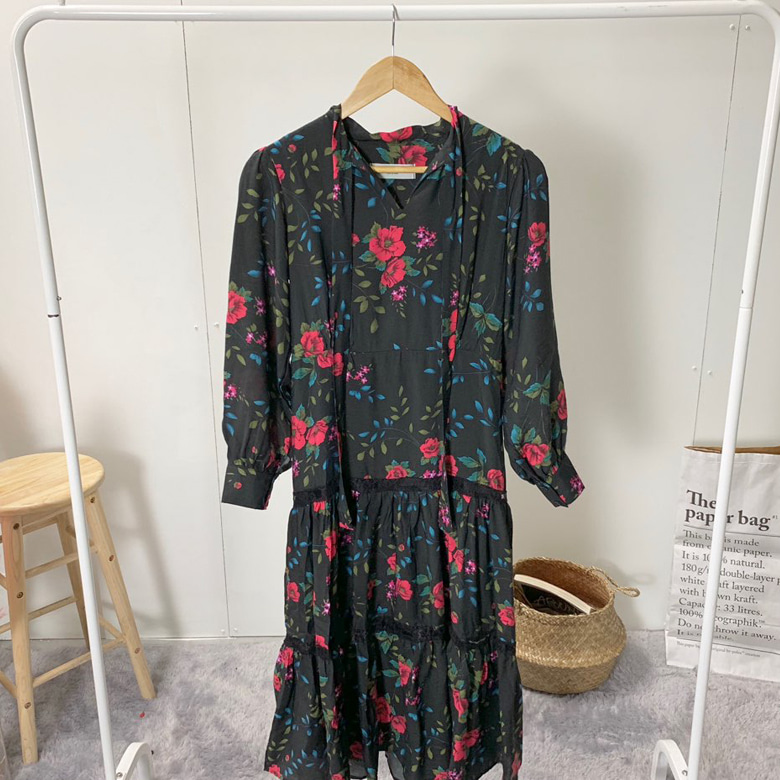 Romi Big Flower Long Dress