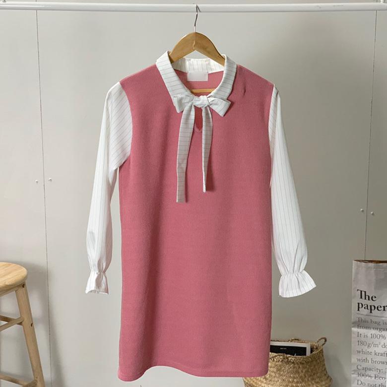 Eleven ribbon spring mini dress