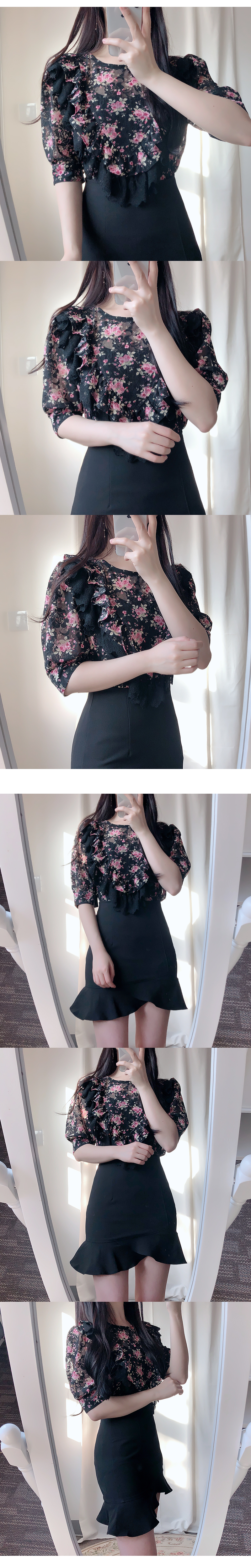 Berry lace flower blouse