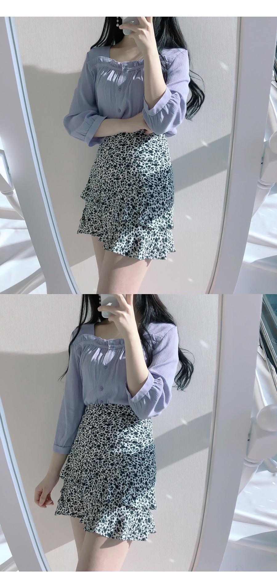 Square ruffle ♥ blouse