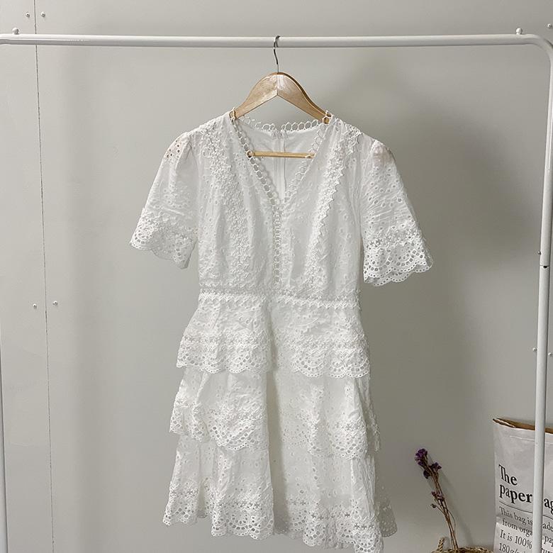 Punch lace ruffle mini dress