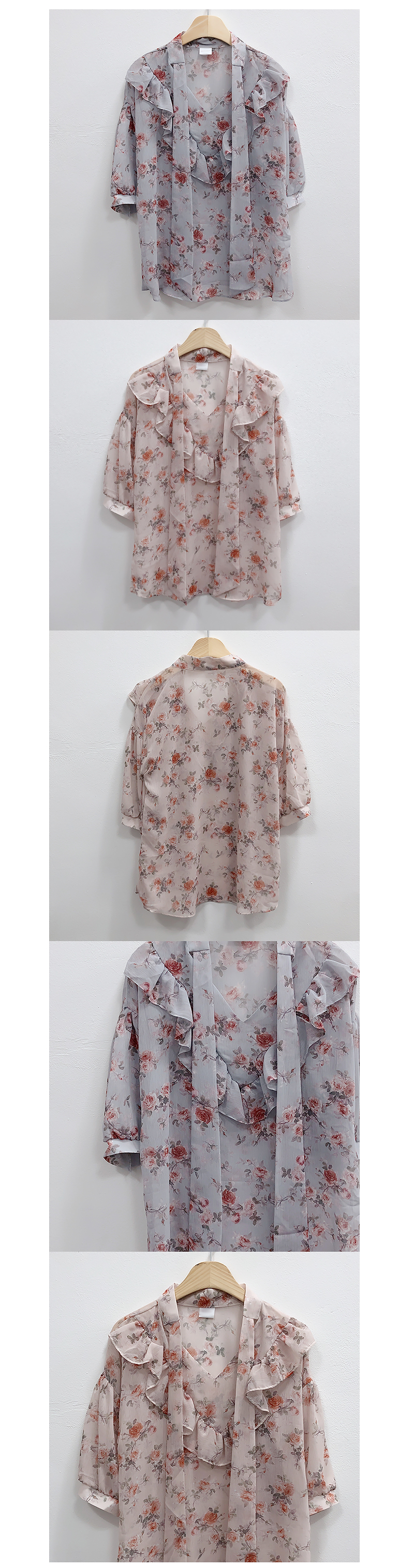 Draw flower floral blouse