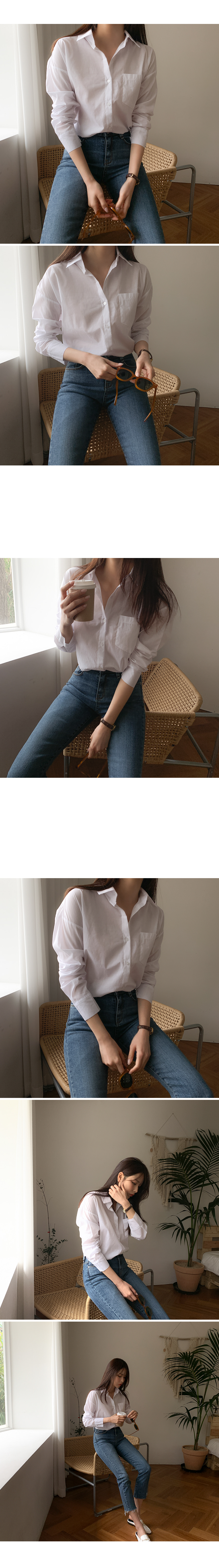 Plain pocket cotton shirt