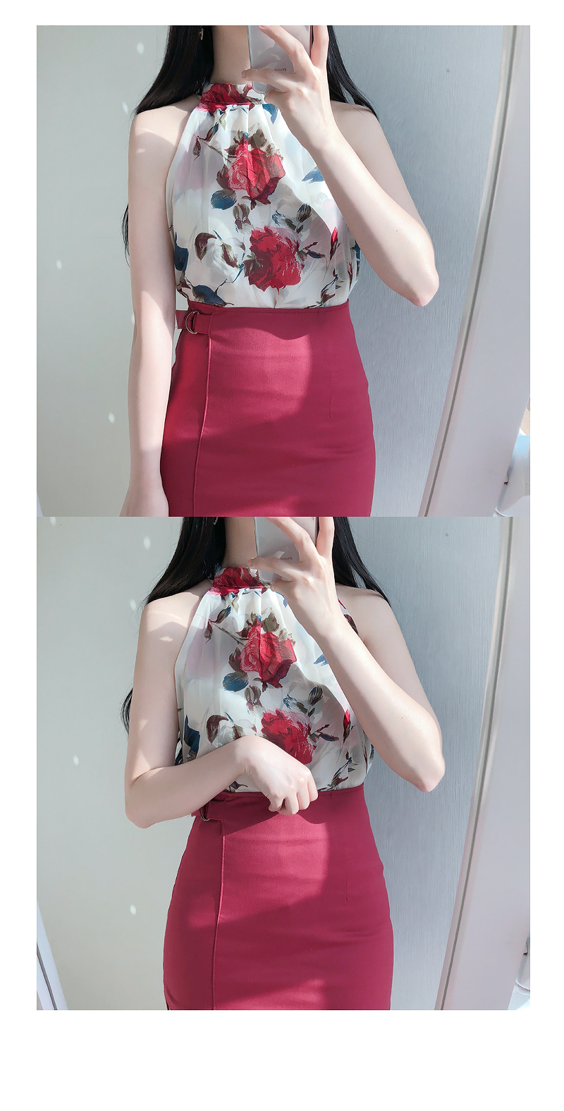 Rose flower halter blouse