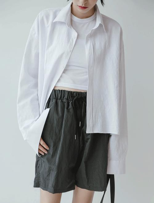 Linen crop shirt