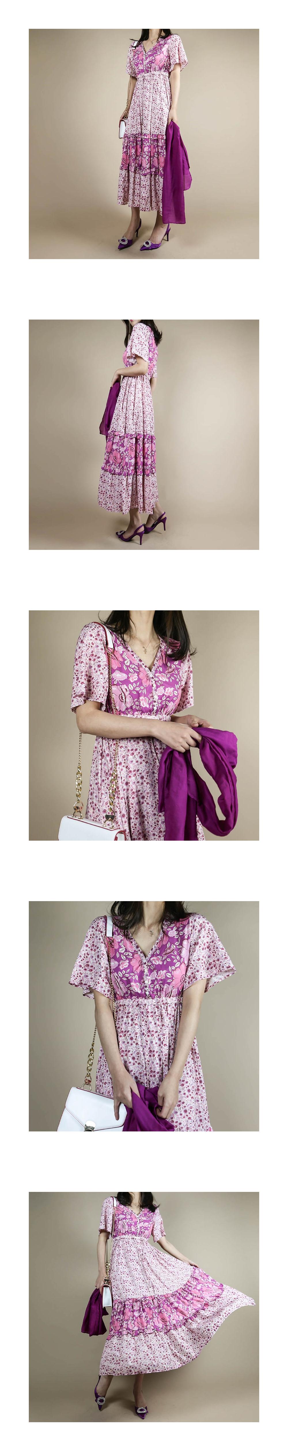 Pink Flower Rayon Long Dress _OP03065