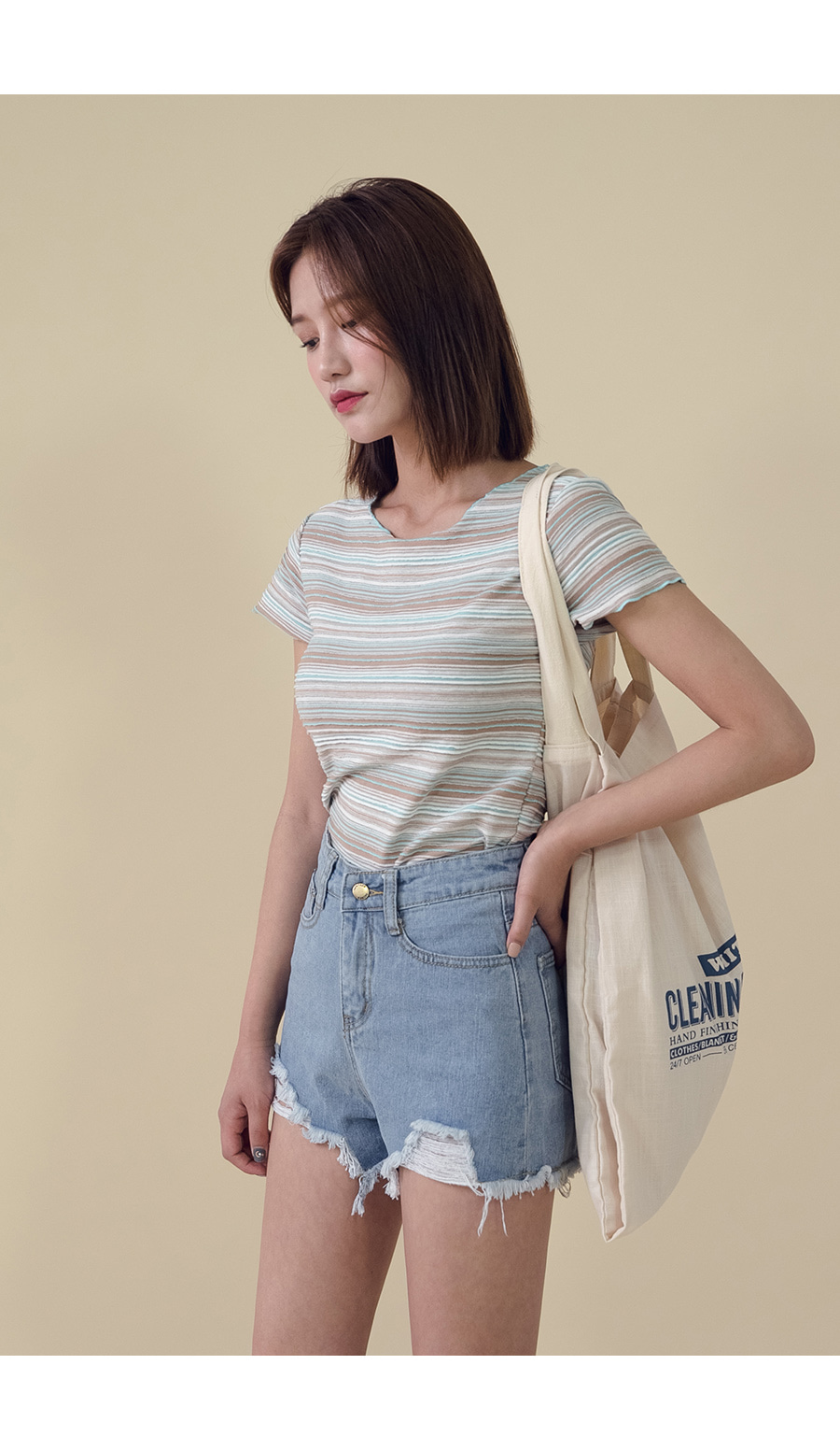 Stripe Round Neck T-shirt