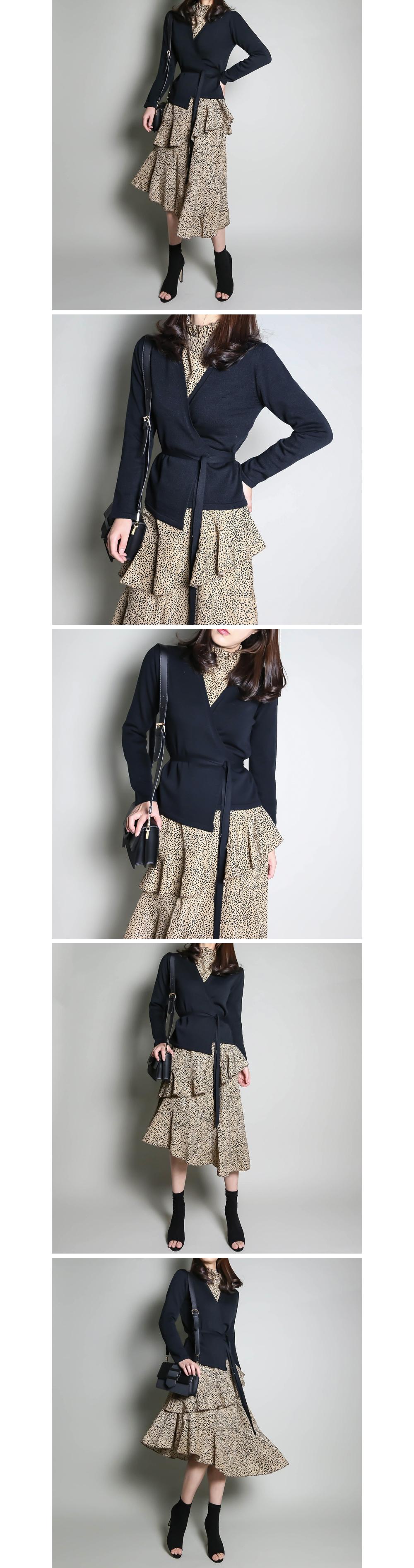 Lap strap knit cardigan _cd2970