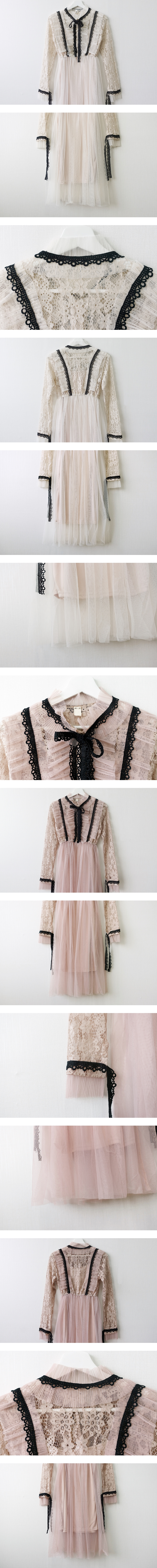 Lace ribbon long dress
