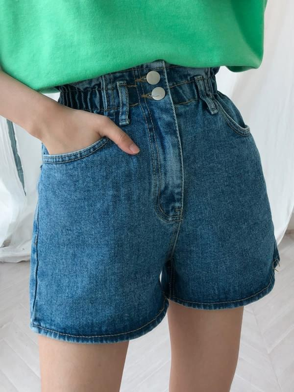 High-banded denim shorts