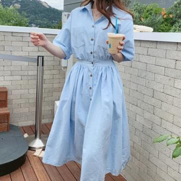 Blue Butler Flare Dress