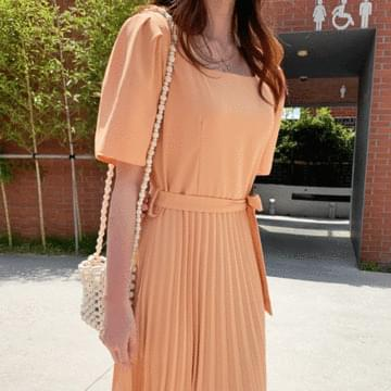 French Pleated Long Dress