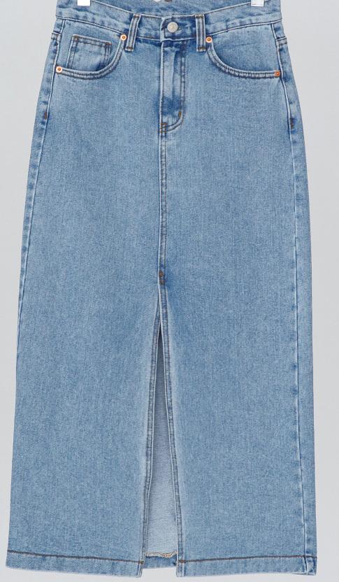 long slit slim fit denim skirt