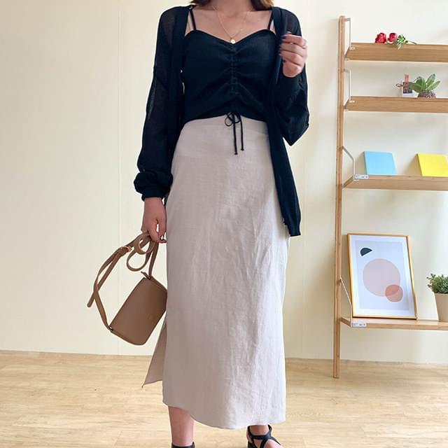 Linen top long skirt