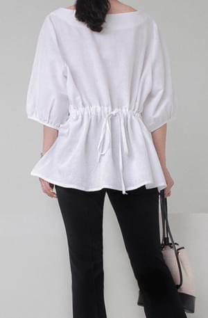Rear stringed loose-fitting blouse