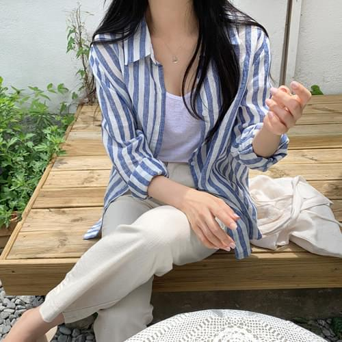 Robin striped linen shirt-beige