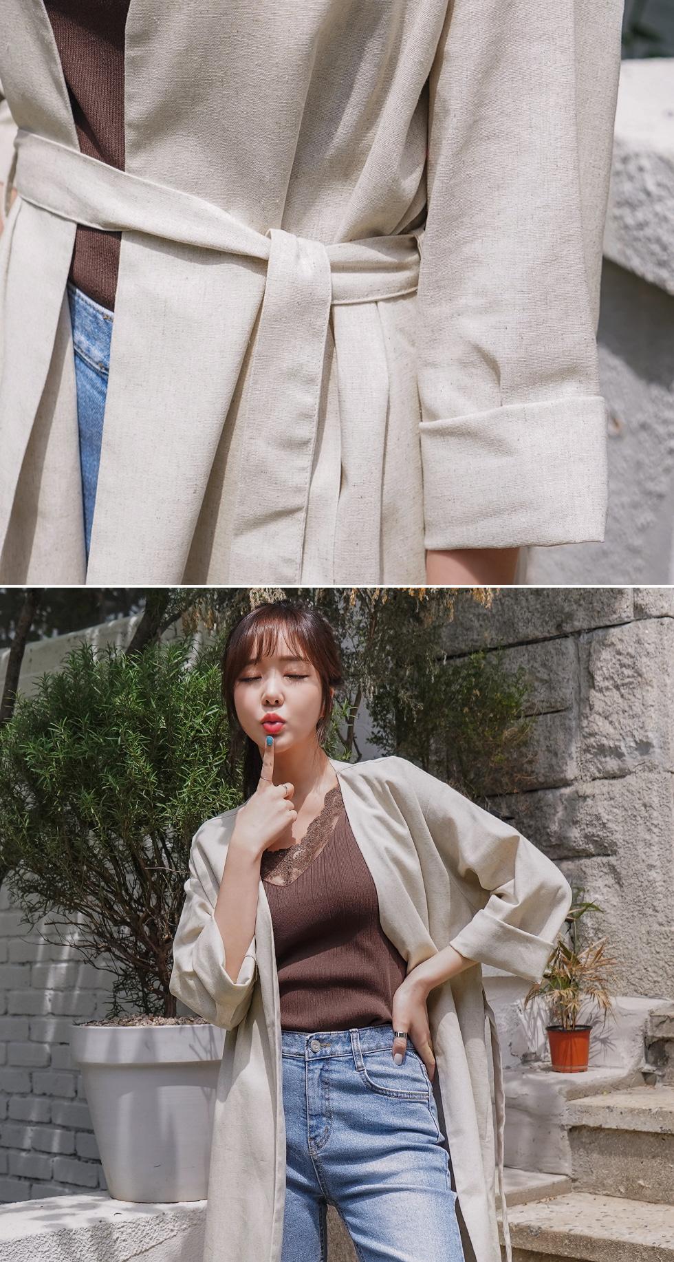 Linen robe long cardigan