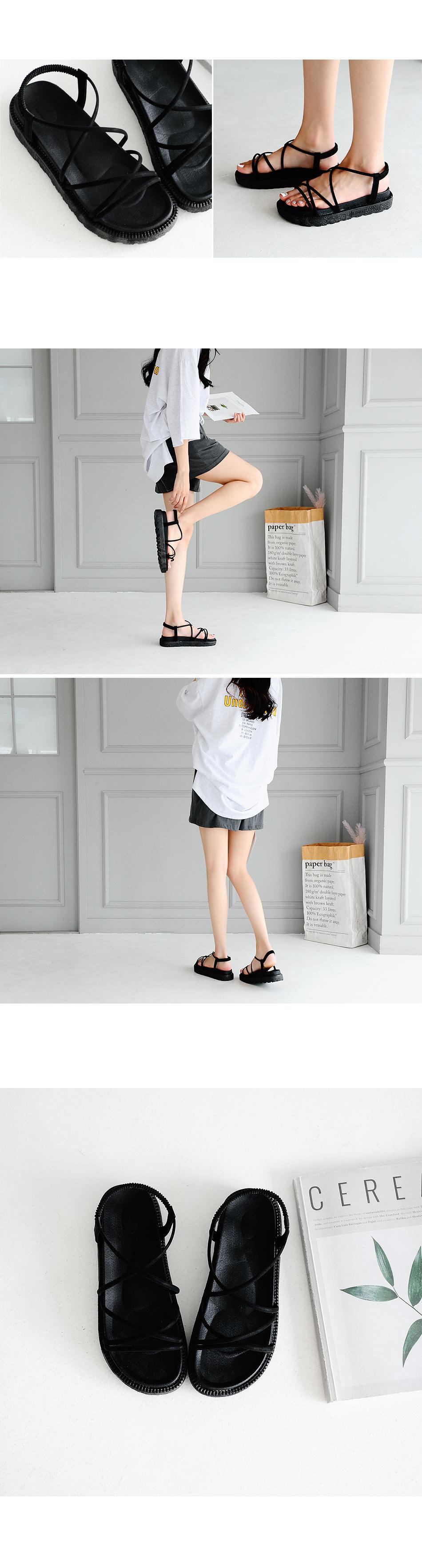 Resilian Banding Sling Back Sandals 4cm