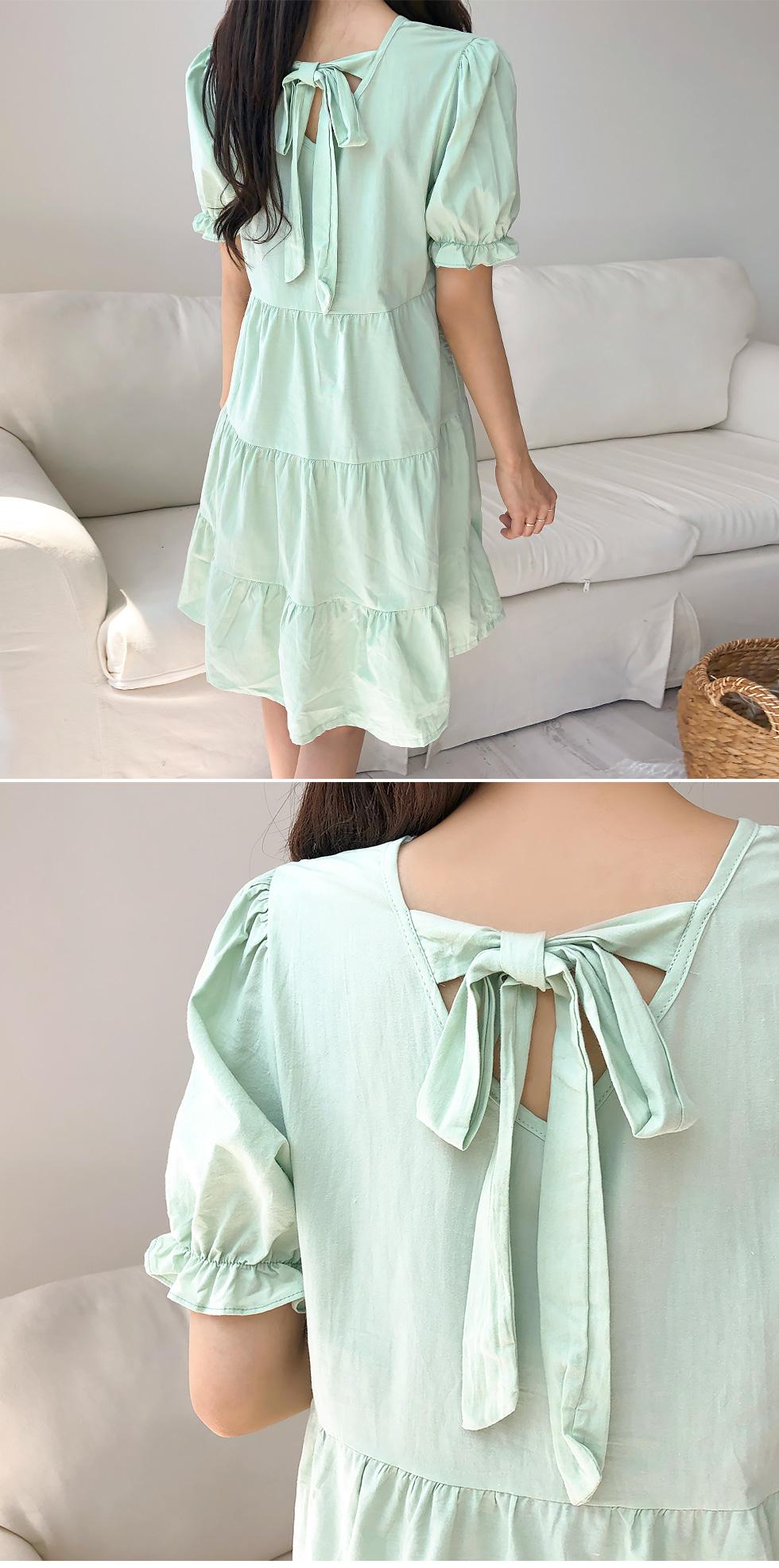 Ribbon mini dress cane