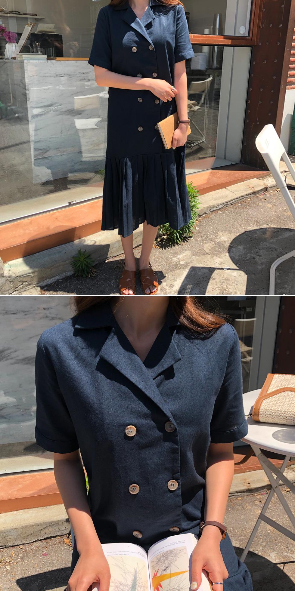 Linen pleated long dress