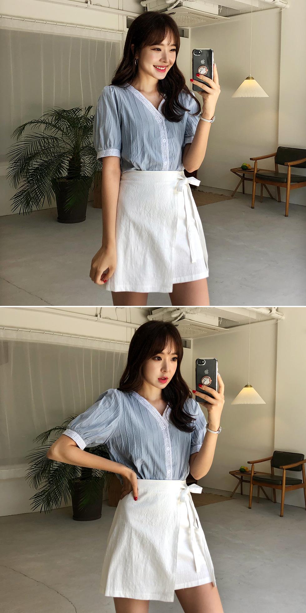 Lace tape blouse