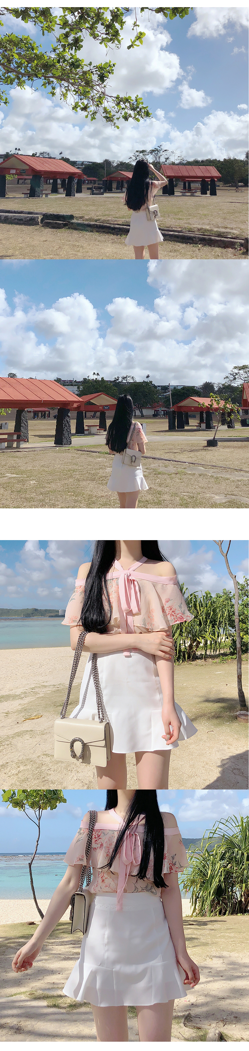 In-house production, order runaway ♥ Moe Thum flower shoulder blouse