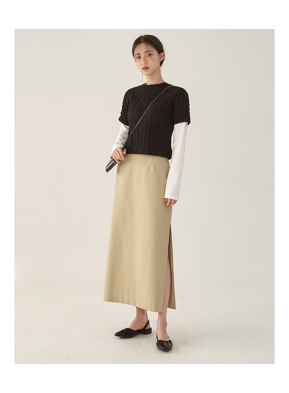 wrinkle half blouse T