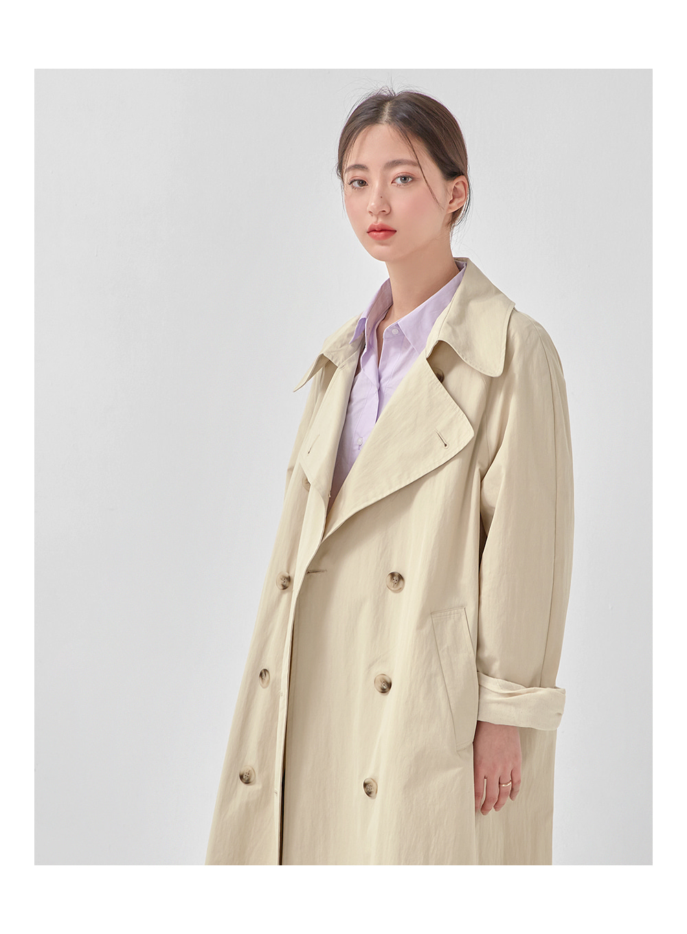smooth cotton double trench coat