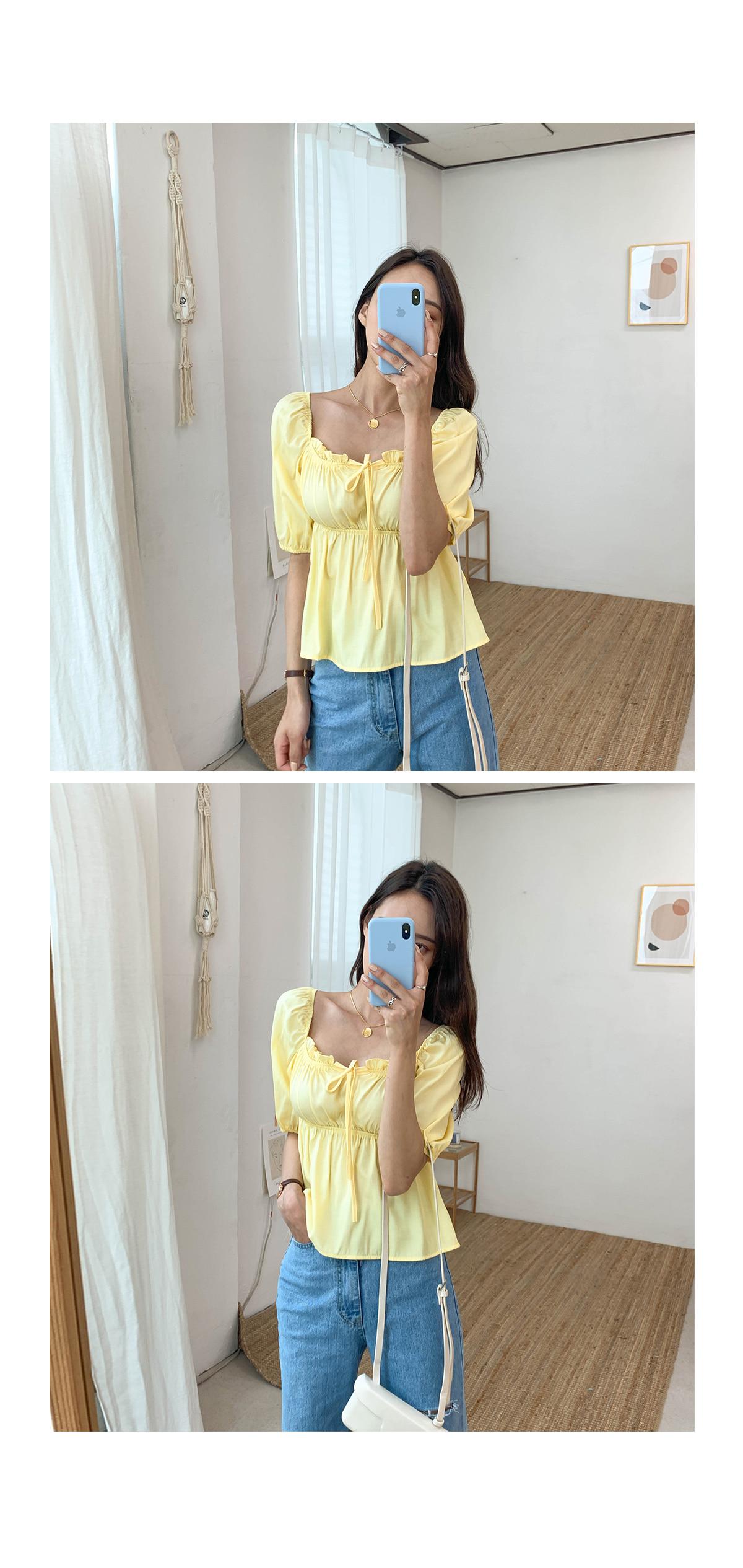 Shirring ribbon blouse