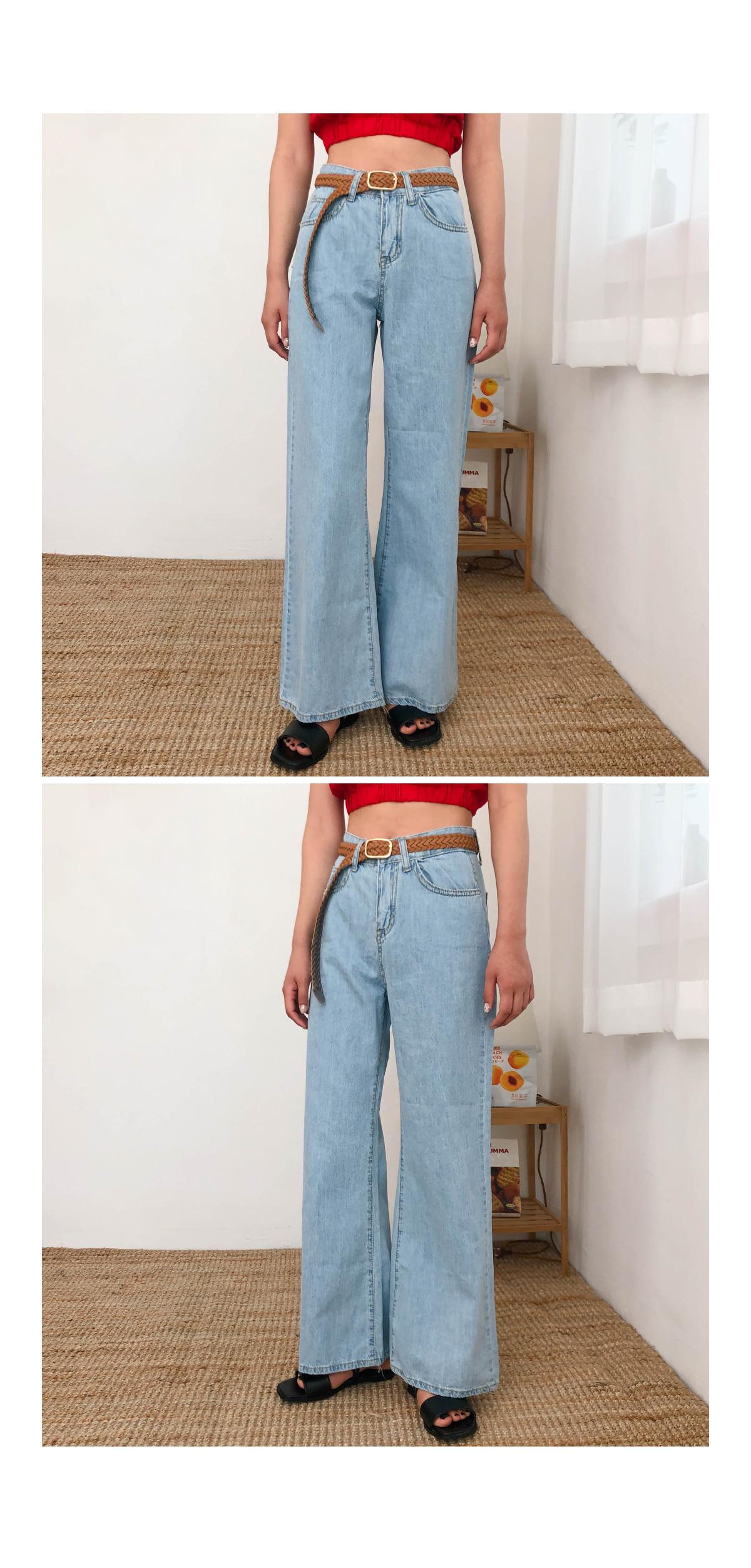 Wide-eyed denim pants