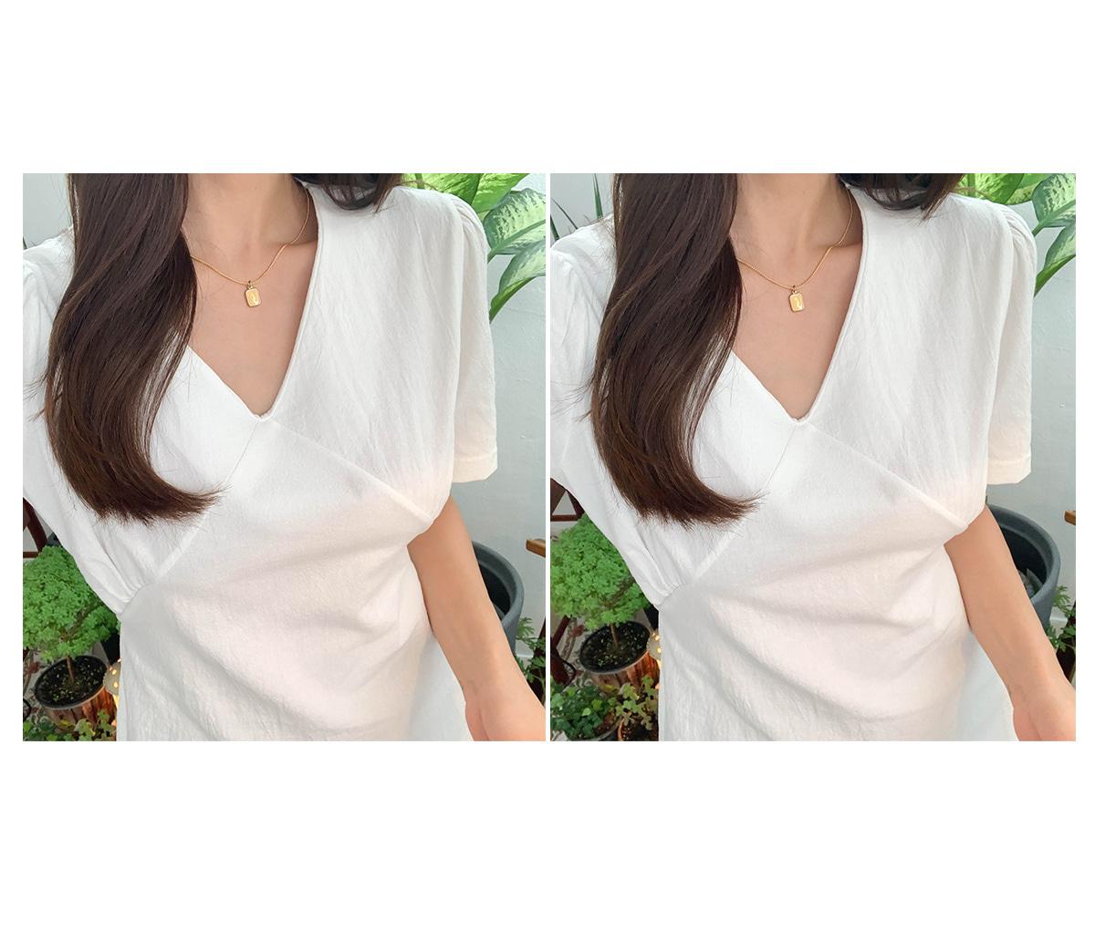 Ribbon combination mini dress