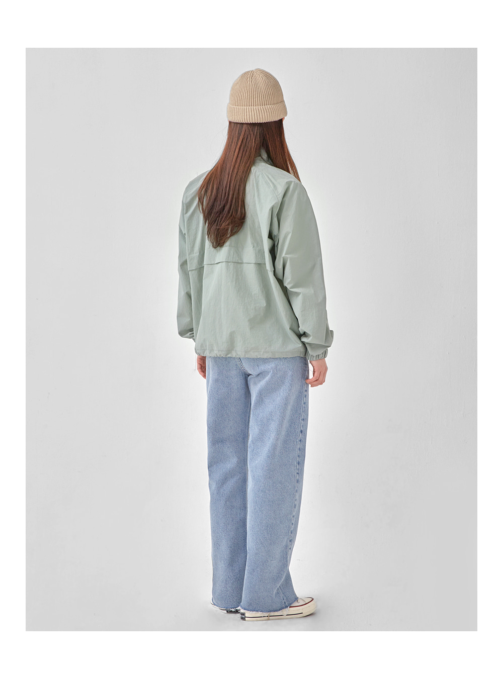 save half neck blouson jumper