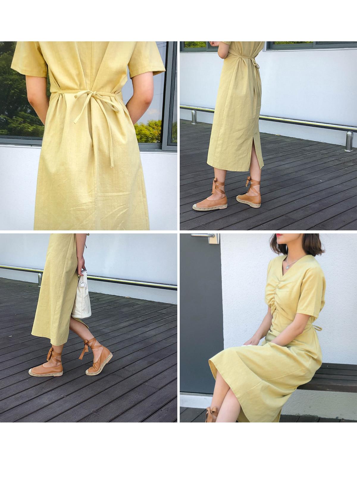 Linen EL Shirring Dress