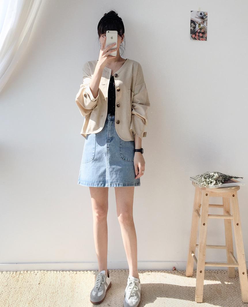 Linen high short jacket