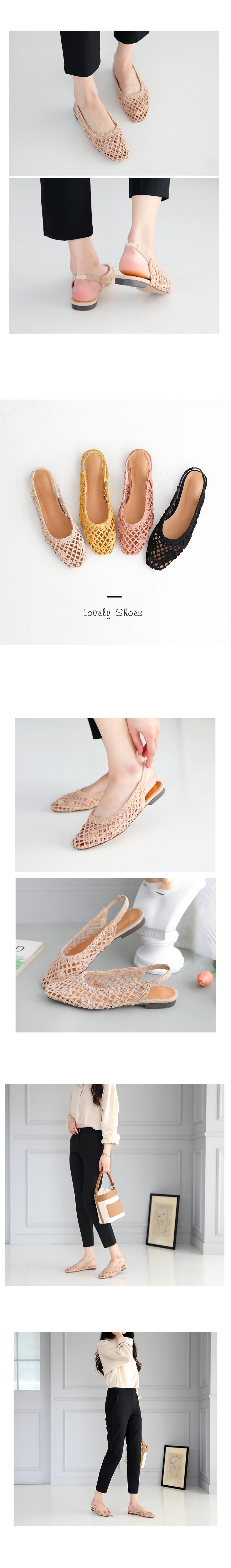 Francesche Slingback Flat Shoes 1cm