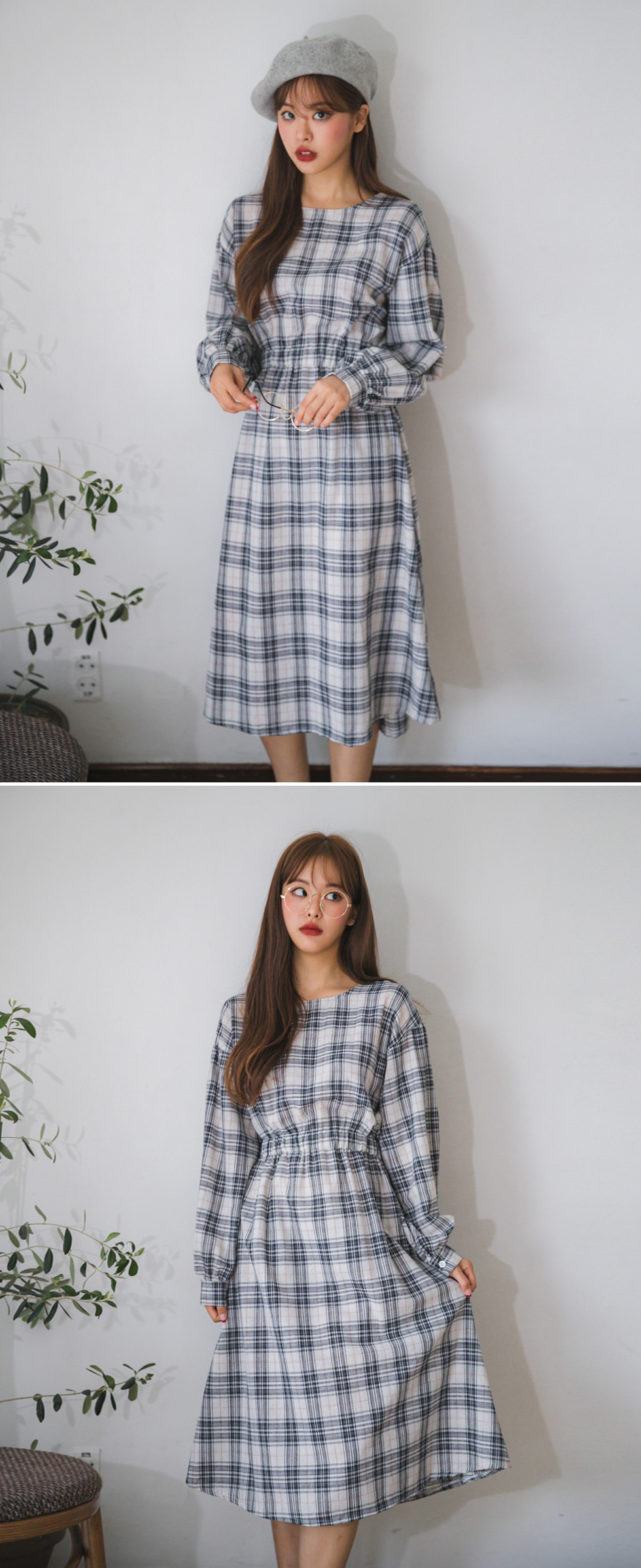 Back button check dress