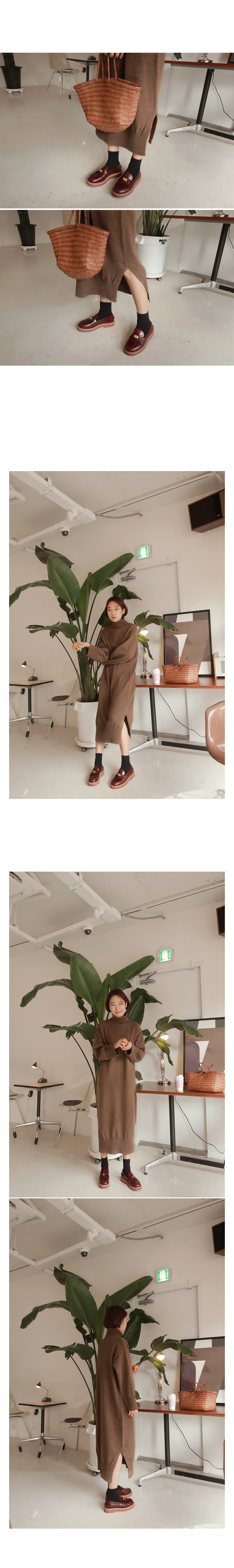 Cappuccino-knit dress [size: 44 ~ 66 / 3color]
