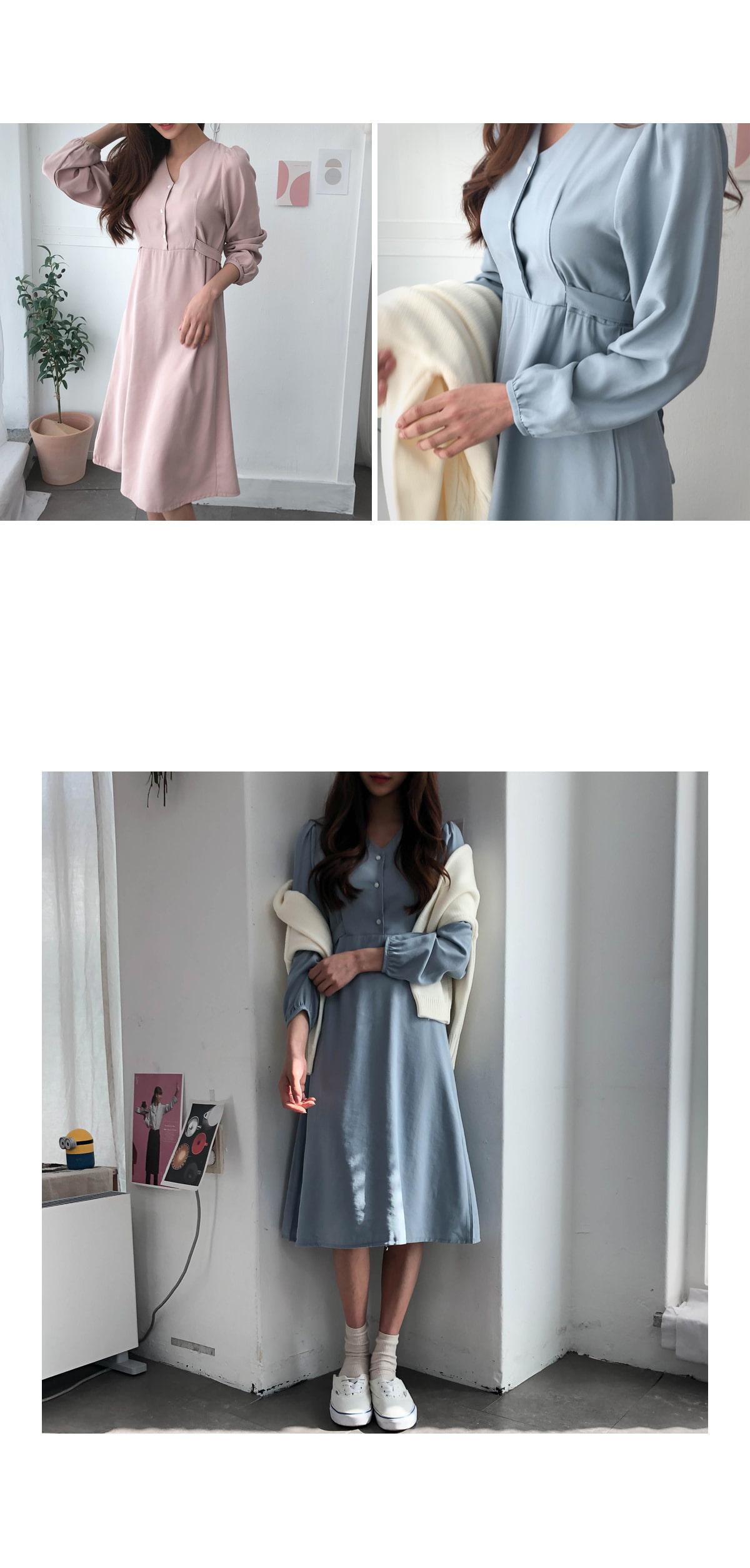 Button Apple V neck dress