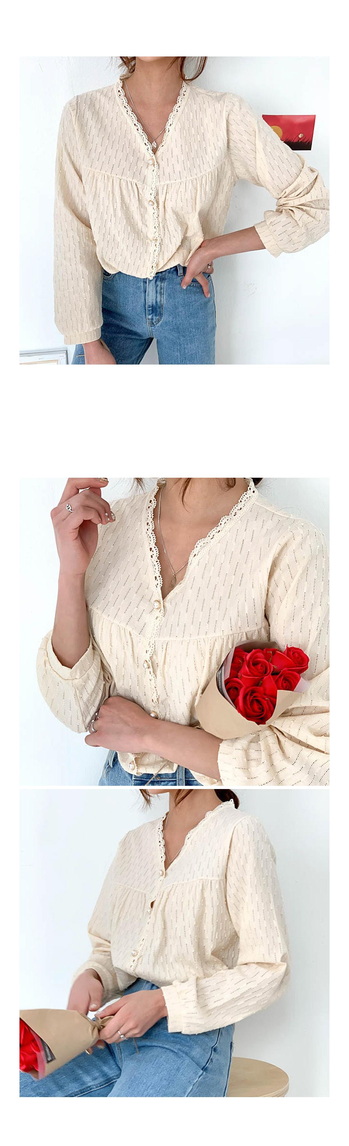 Lace tamari pearl blouse