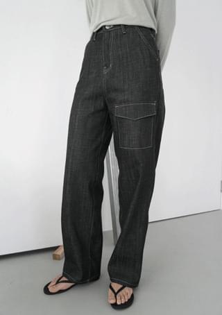 straight pocket denim pants