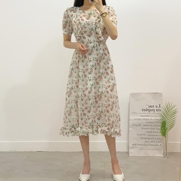 Full House Flower Frill Long Dress